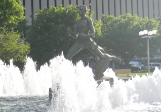 The Runner statue in Kiener Plaza